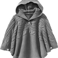 Old Navy Girls Hooded Cable Knit Ponchos Size M/L - Grey