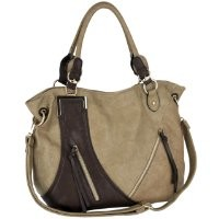 MG Collection GWEN Taupe Dual-Tone Shopper Slouchy Hobo Shoulder Bag