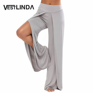 VESTLINDA Sexy High Split Mid Waist Wide Leg Flowy Pants Women 2017 Female Trousers Casual Summer Beach Long Loose Harem Pants