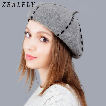427c4988affc0f Hot Wool Winter Hats For Women Solid Color Female Felt French Be