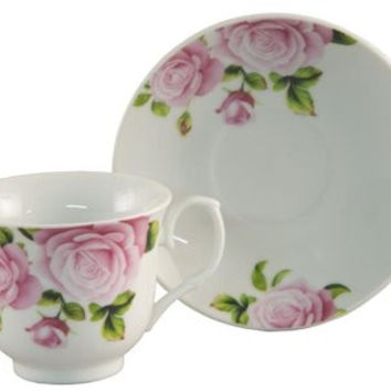 6 Pink Rose Bulk Porcelain Inexpensive Teacups (Tea Cups) & Saucers