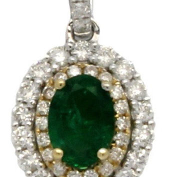 0.96 CT (t.w.) Natural Oval Emerald Cut White Diamond Halo On 14K/18k Gold Engagement Necklace Pendant