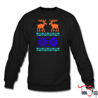 Moose Pattern Christmas Sweater crewneck sweatshirt
