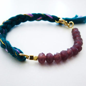 Plum Pretty Indie Bracelet- Beautiful Stone and Thread Braided Bracelet