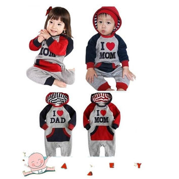 "Baby Newborn Fleece Jumpsuit Onepiece Bodysuit ""Hoodie ♥ Mom Dad"" = 1931709252"