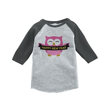 Custom Party Shop Kids Owl Happy New Year Raglan Shirt