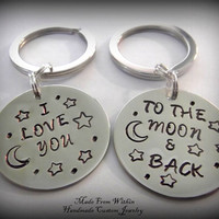 I Love You To The Moon And Back Key Chain Set- Relationship Key Chain- Long distance- Friend Key Chains