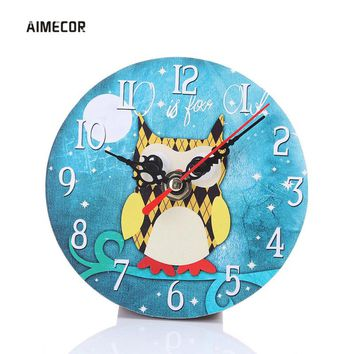Aimecor Cute Owl Series 11.5cm wall clocks round wall watches relojes decoracion pared 1PC digital clock