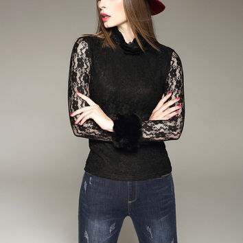 D. FANNI Lace Top with Faux Fur Cuffs