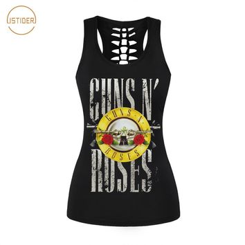 ISTider 2017 New Summer Punk Rock Style 3D Tank Top Women Fashion GUNS N ROSES T Shirt Sleeveless Vest Sexy Hollow Out Shirt