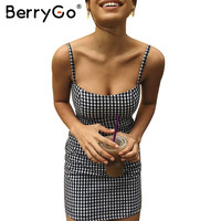 BerryGo Causal plaid sleeveless bodycon summer dress Women sexy black short dress robe Vintage zipper beach black dress vestidos