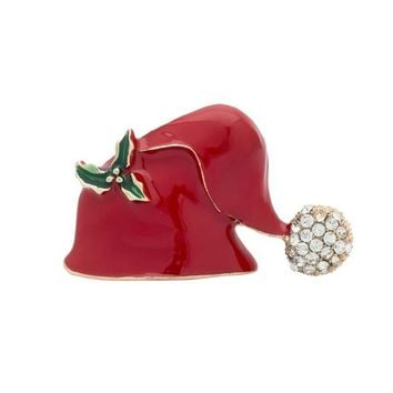 1PC Hat Brooch Santa Claus Hat Shaped Rhinestone Brooch Jewelry For Women Kids Red Brooch