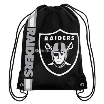 Las Vegas Raiders  wordmack Drawstring Backpack 35x45CM NFL Digital Printing Polyester Custom Sports Backpack, free shipping