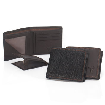 Leather Men Soft Black Classics Big Capacity Wallet [9026225347]
