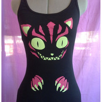 Cheshire Cat Tanktop Kitten Alice in wonderland tail racoon teeth