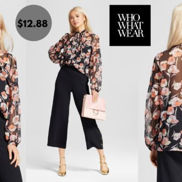 Women's Long Sleeve Shirred Button Up Shirt -Who What Wear Poppy
