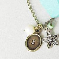 Geometric Wooden Necklace /Blue Tribal Personalized Necklace / Stamped with Charms /Great gift