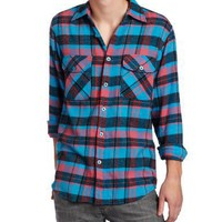 Modern Culture Men's Flannel Shirt with Double Pockets, Aquamarine, Large