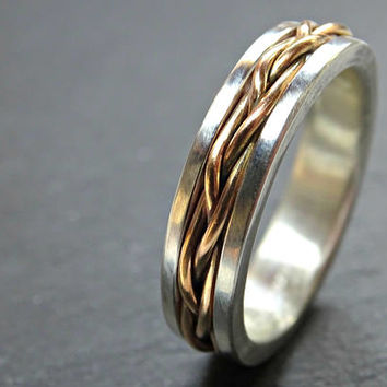 celtic wedding band men, gold braided wedding ring viking, mens promise ring gold braided, men proposal ring gold silver, woven band for him