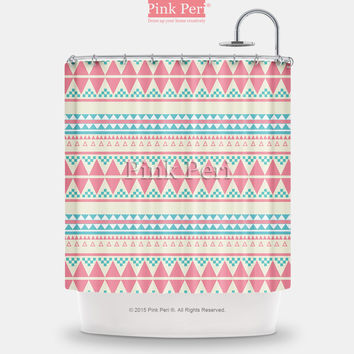 Aztec Tribal Pink Pattern Shower Curtain Free shipping Home & Living 206