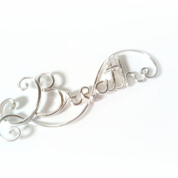 Handmade Personalized Sterling Silver Custom Wire Name or Word Necklace, Bridesmaid Jewelry, Gift for Mom