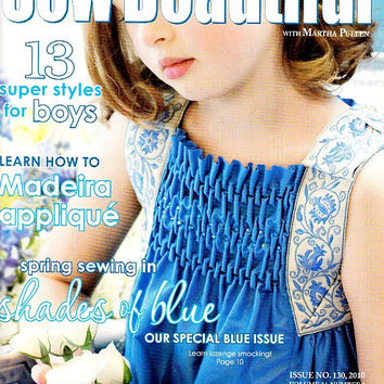 Sew Beautiful Magazine May June 2010 Issue 130 Toddlers Two Piece Swim Suit Hidden Yoke Dress Sewing Patterns Embroidery Smocking Madeira