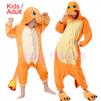 Winter Adult Women Pokemon Charmander Costume Sleepwear Charmander Onesuit hoodie Pajamas Pyjama Animal Pajamas One Piece Cosplay