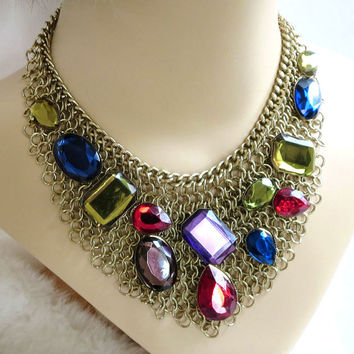 Vintage Large Multi Color Rhinestones Mesh Chain Bib Necklace signed VCLM