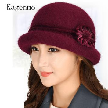 Kagenmo Women Warm Winter Bucket Hat Fashion Knitting Rabbit Fur Cap Outdoor Keep Warm Rabbit Lady Fishing Hats