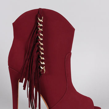 Fringe Chained Peep Toe Stiletto Booties