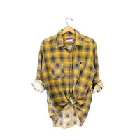 Button Up Flannel Shirt Yellow Black Grunge Clothing 90s Worn In Mens Checkered Tomboy Shirt Oversized men's  XL