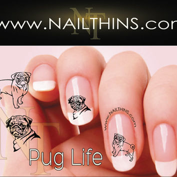 Pug Nail Decal Pug Life Dog Nail Design NAILTHINS Pug Nail Art