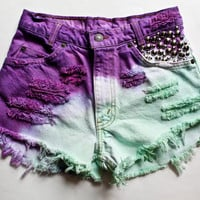 purple, mint and white ombre / Levi's vintage denim / assorted conical studs & destroyed / high waisted shorts