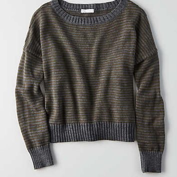 Don't Ask Why Boxy Crewneck Sweater, Olive