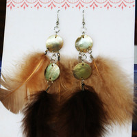 Earings Tan Brown Feathers Shell Light Air Mermaid by HaleyLouise