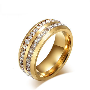 Austrian crystal ring - stainless steel
