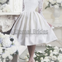 Illusion Neckline knee Length Orangdy Short Ball Gown open Back zipper/lace wedding dress/ long sleeves