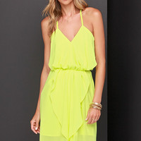 Bright Here and Now Chartreuse Dress