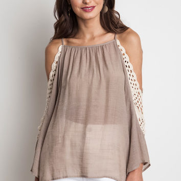 Crochet Cold Shoulder Top - Mocha