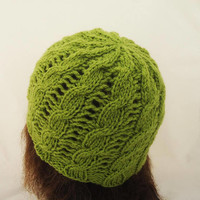 Knitted Women Hat, Cable Beanie, Cloche Hat, Cable Hat in Olive Green, Olive Green Hat