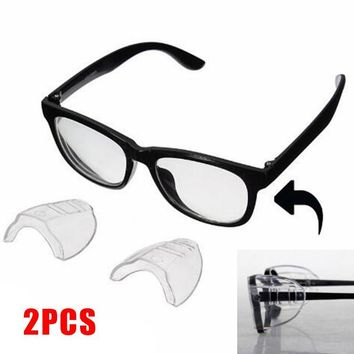 2PCS PVC Safety Optical Universal Sideshield Glasses Wings Safety Glass Flexible Slip-On Protector Hiking Goggles Eye Protection