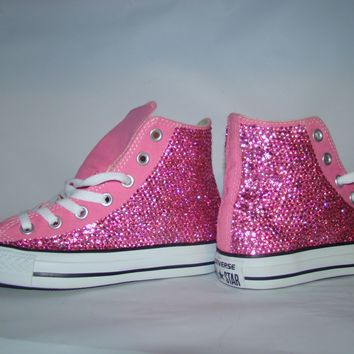 High Top Pink Sparkled Rhinestones Chucks