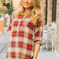 College Life Plaid Button Up Tunic