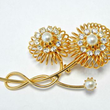 Alice Caviness Large Pearl and Rhinestone Brooch Wire Double Flower Gold Tone Signed