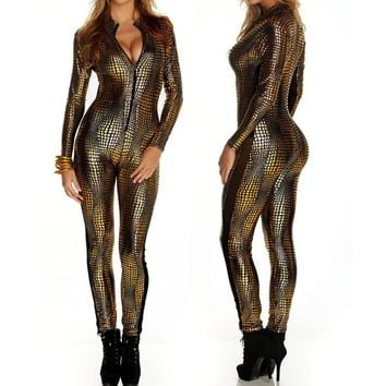 New Women Sexy Metal Snake Skin Faux Leather Zipper Fornt Bandage Jumpsuit Bodysuit Catsuit Overall