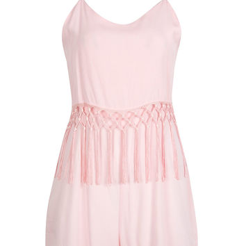 Pink Layered Top Tassel Detail Cami Romper Playsuit