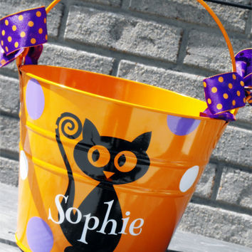 Personalized Halloween Bucket - Lots of Designs Available