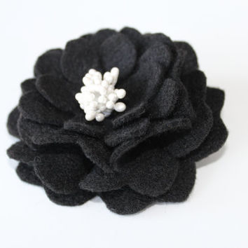 Handmade felt brooch pin black flower with white center fabric