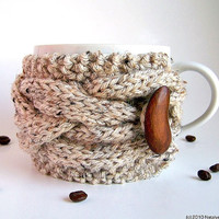 Oatmeal Cup Cozy, Knitted Coffee Cozy, Coffee Sleeve - Winter ohtteam Wood Woodland Nature Farm Cone Acorn Rustic