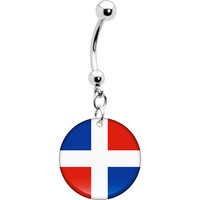 Dominican Republic Flag Belly Ring